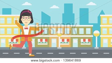 An asian young successful business woman running at the finish line. Business woman crossing finish line. Concept of business success. Vector flat design illustration. Horizontal layout.
