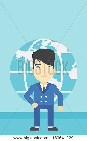 An asian businessman standing on background of Earth globe. Business man taking part in global business. Global business concept. Vector flat design illustration. Vertical layout.
