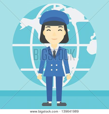 An asian business woman standing on a background of Earth globe. Business woman taking part in global business. Global business concept. Vector flat design illustration. Square layout.