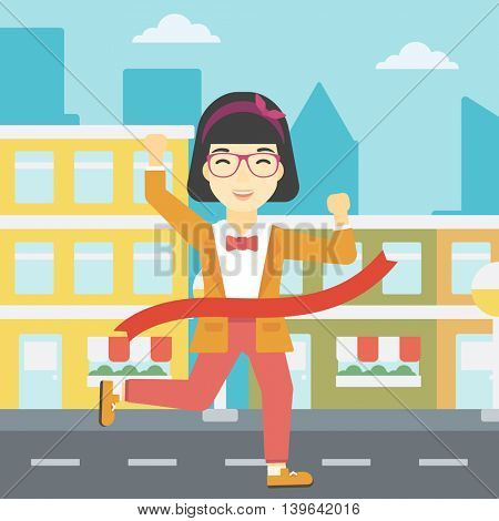 An asian young successful business woman running at the finish line. Business woman crossing finish line. Concept of business success. Vector flat design illustration. Square layout.