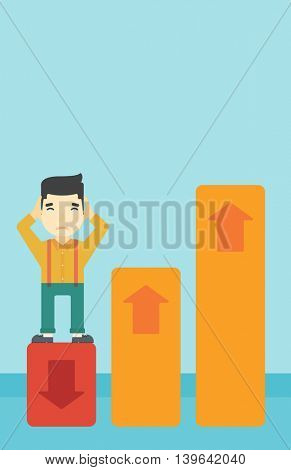 An asian bankrupt clutching his head. Businessman standing on chart going down. Concept of business bankruptcy. Vector flat design illustration. Vertical layout.