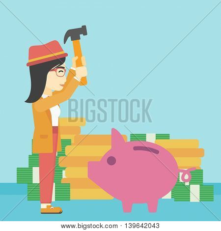 An asian young business woman breaking piggy bank on a blue background with stacks of coins. Concept of business bankruptcy. Vector flat design illustration. Square layout.
