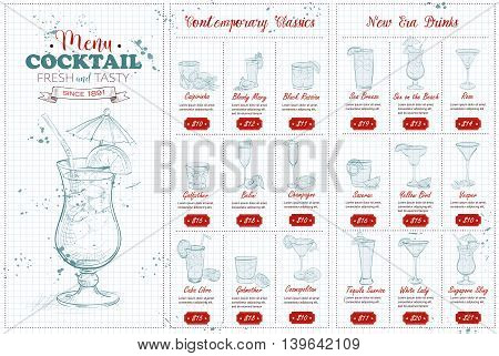 Front Drawing horisontal cocktail menu design on a notebook page