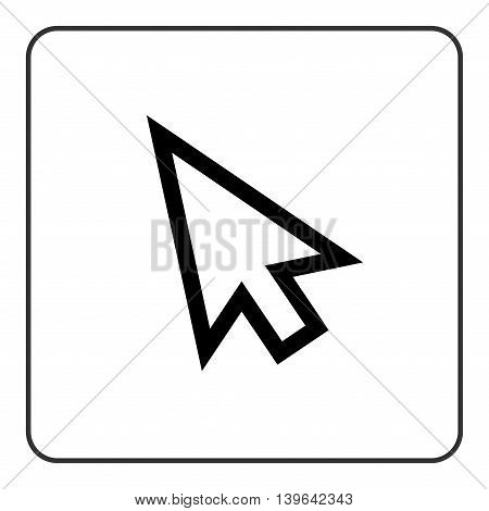 Arrow pointer sign. Cursor mouse web icon. Click point button. Black element isolated on white background. Symbol of computer technology choice and website internet connection. Vector illustration