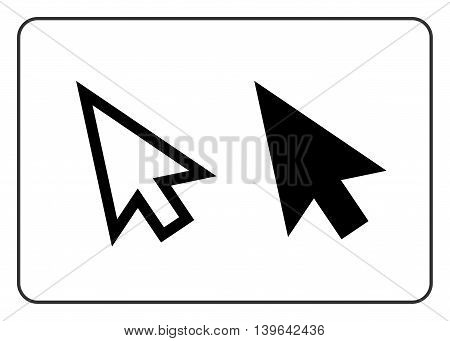 Arrows pointer signs set. Cursor mouse web icon. Click point button. Black element isolated on white background. Symbol of computer technology and website internet connection. Vector illustration