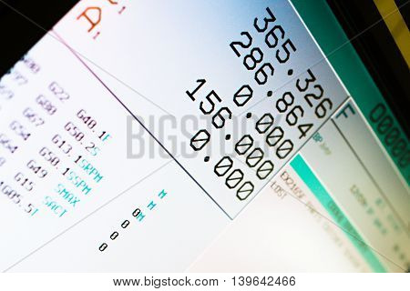Cnc machine LCD screen, numbers and reading of the machine work.