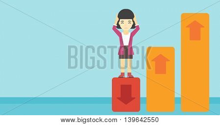 An asian business woman clutching her head. Bankrupt standing on chart going down. Concept of business bankruptcy. Vector flat design illustration. Horizontal layout.