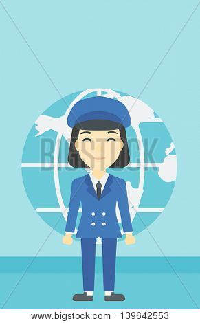 An asian business woman standing on a background of Earth globe. Business woman taking part in global business. Global business concept. Vector flat design illustration. Vertical layout.