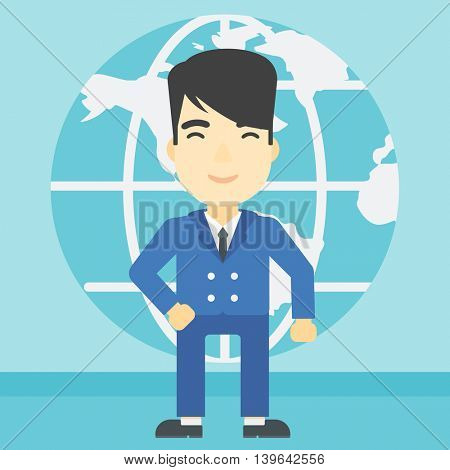 An asian businessman standing on background of Earth globe. Business man taking part in global business. Global business concept. Vector flat design illustration. Square layout.