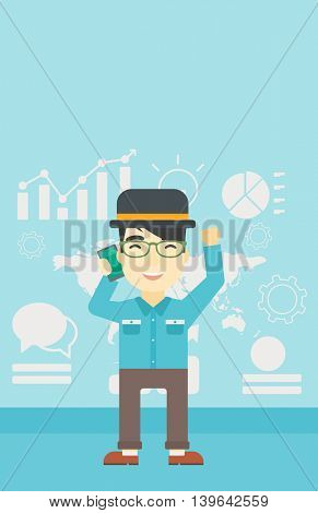 An asian happy businessman getting good news on mobile phone on the background of growth charts and map. Business success concept. Vector flat design illustration. Vertical layout.