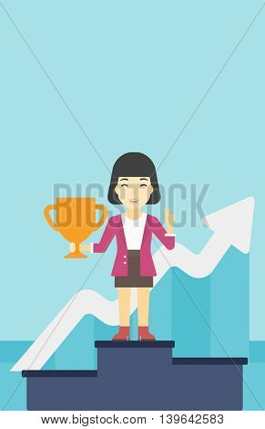 An asian business woman standing on a pedestal with winner cup. Business woman celebrating her business award. Business award concept. Vector flat design illustration. Vertical layout.