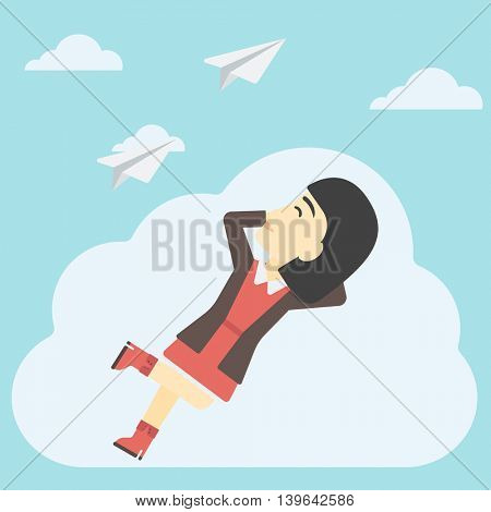 An asian business woman lying on a cloud and looking at flying paper plane. Business woman relaxing on a cloud. Vector flat design illustration. Square layout.