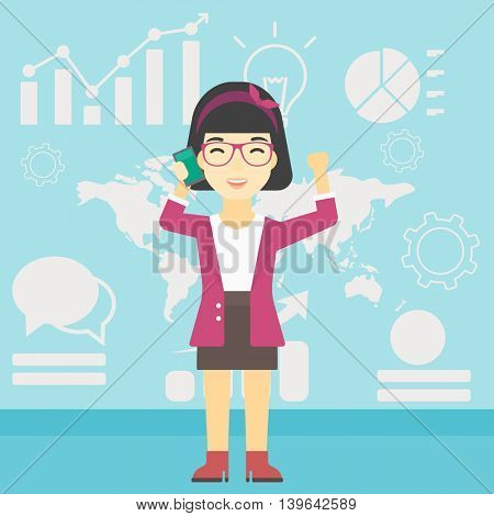 An asian happy business woman getting good news on mobile phone on the background of growth charts and map. Business success concept. Vector flat design illustration. Square layout.