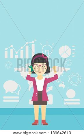 An asian happy business woman getting good news on mobile phone on the background of growth charts and map. Business success concept. Vector flat design illustration. Vertical layout.