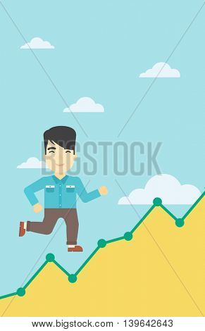 An asian young businessman running along the growth graph. Businessman going up. Happy businessman moving up. Successful business concept. Vector flat design illustration. Vertical layout.