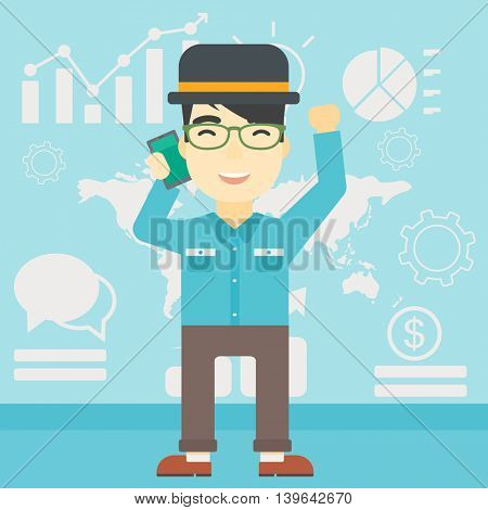 An asian happy businessman getting good news on mobile phone on the background of growth charts and map. Business success concept. Vector flat design illustration. Square layout.