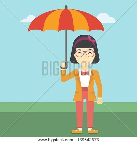 An asian business woman standing with open umbrella on the background of blue sky. A woman under open umbrella. Happy woman with umbrella. Vector flat design illustration. Square layout.