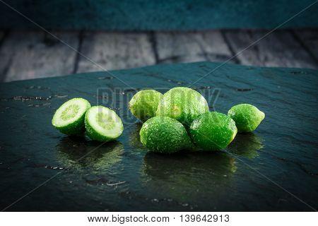 Small Limes Citrus Fruit Still Unripe