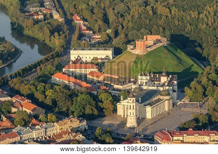 Center part of Vilnius, Lithuania in the sunset. Aerial view from piloted flying object.