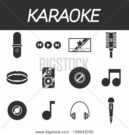 Karaoke icons set with microphones and other things isolated vector illustration