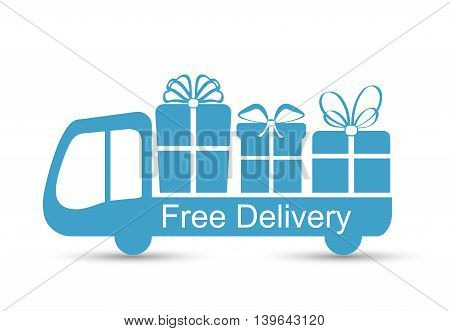 Free delivery flat icon design isolated on white, vector illustration