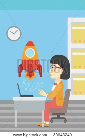 An asian young business woman sitting at the table and looking at a business start up rocket taking off. Business start up concept. Vector flat design illustration. Vertical layout.