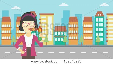 An asian business woman lighting a cigar with dollar bill. Successful business woman smoking cigar on the background of modern city. Vector flat design illustration. Horizontal layout.