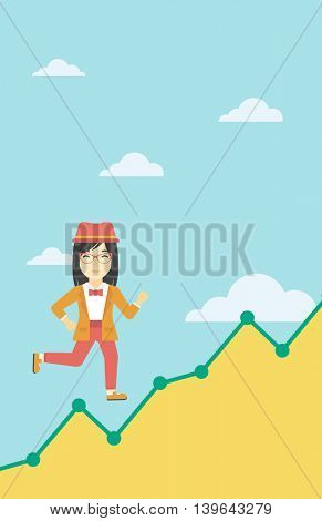 An asian young business woman running along the growth graph. Business woman going up. Happy business woman moving up. Successful business concept. Vector flat design illustration. Vertical layout.