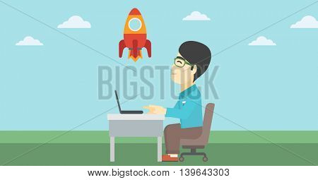 An asian young businessman sitting at the table and looking at a flying rocket. Businessman working on a laptop. Business start up concept. Vector flat design illustration. Horizontal layout.