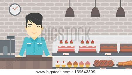 An asian smiling bakery worker offering different pastry. A bakery worker standing behind the counter with cakes at the bakery. Vector flat design illustration. Horizontal layout.