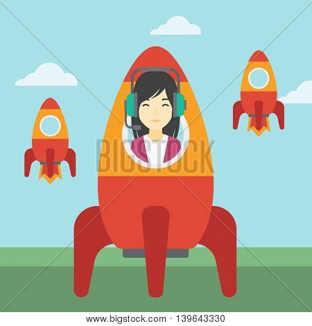 An asian business woman in headphones flying in the rocket. Successful business start up concept. Business rocket taking off. Vector flat design illustration. Square layout.