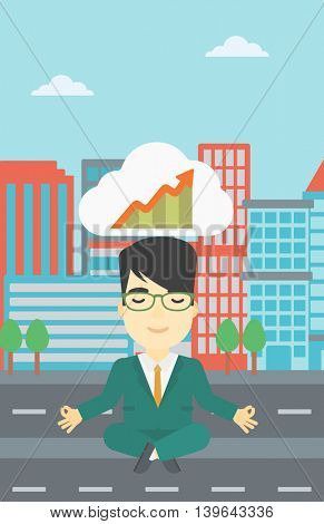 An asian businessman with eyes closed doing yoga. Businessman thinking about the growth graph and meditating in lotus pose on a city background. Vector flat design illustration. Vertical layout.