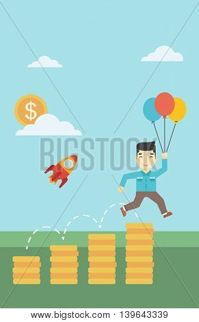 An asian businessman with balloons flying over gold coins and rocket flying nearby. Business start up and growth concept. Vector flat design illustration. Vertical layout.