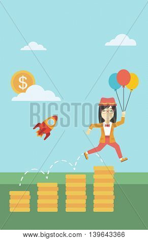 An asian business woman with balloons flying over golden coins and a business start up rocket flying nearby. Business start up and growth concept. Vector flat design illustration. Vertical layout.