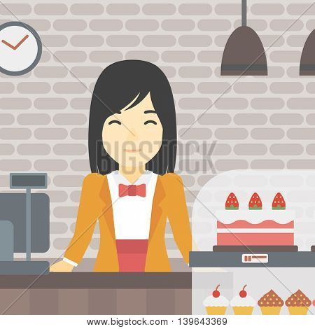 An asian smiling female bakery worker offering different pastry. A bakery worker standing behind the counter with cakes at the bakery. Vector flat design illustration. Square layout.