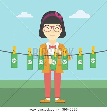 An asian young business woman drying banknotes on the clothesline on the background of blue sky. Woman loundering money. Vector flat design illustration. Square layout.