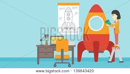 An asian  woman standing on ladder and engeneering a rocket. Woman working on the start up of a new business. Business start up concept. Vector flat design illustration. Horizontal layout.