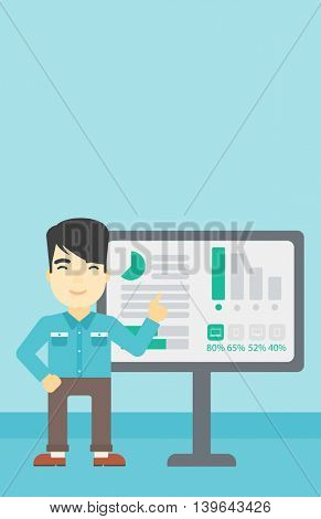 An asian businessman pointing at charts on a board during business presentation. Man giving business presentation. Vector flat design illustration. Vertical layout.