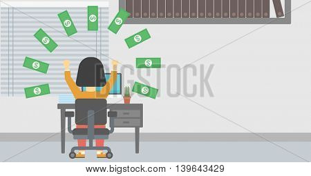 Business woman with raised hands celebrating while sitting at workplace under money rain. Successful business concept. Vector flat design illustration. Horizontal layout.
