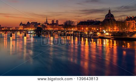 Paris, Frence: Seine river and Old Town of in the beautiful sunrise