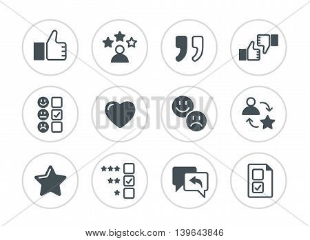 Simple set of testimonials and feedback vector thin line icons.