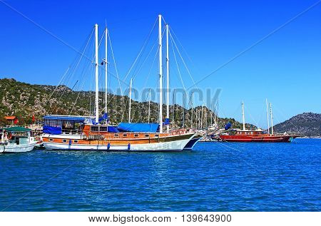 Moored yachts near Kekova island in Turkey