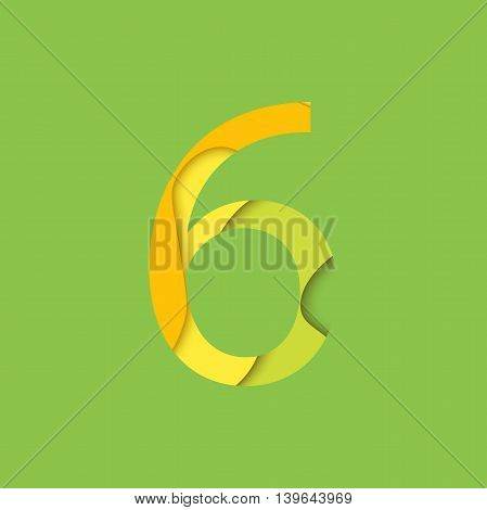 Number six design template element. Figure 6 vector logo icon and sign in material design style.