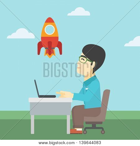 An asian young businessman sitting at the table and looking at a flying rocket. Businessman working on a laptop. Business start up concept. Vector flat design illustration. Square layout.