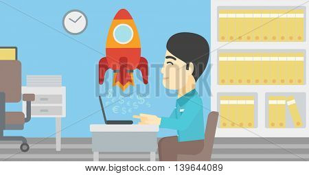 An asian young businessman sitting at the table and looking at a business start up rocket taking off. Business start up concept. Vector flat design illustration. Horizontal layout.