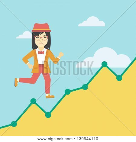 An asian young business woman running along the growth graph. Business woman going up. Happy business woman moving up. Successful business concept. Vector flat design illustration. Square layout.