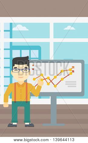An asian young businessman pointing at charts on a board during business presentation. Happy businessman giving business presentation. Vector flat design illustration. Vertical layout.