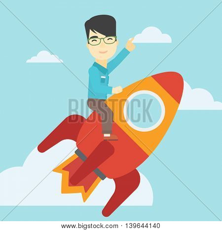 An asian businessman flying on the business start up rocket and pointing his forefinger up. Successful business start up concept. Vector flat design illustration. Square layout.
