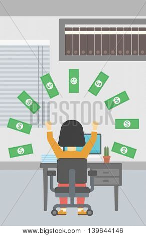 Business woman with raised hands celebrating while sitting at workplace under money rain. Successful business concept. Vector flat design illustration. Vertical layout.