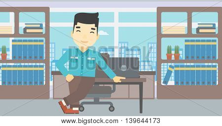 An asian businessman leaning on a table in the office. Young smiling businessman standing in the office. Vector flat design illustration. Horizontal layout.